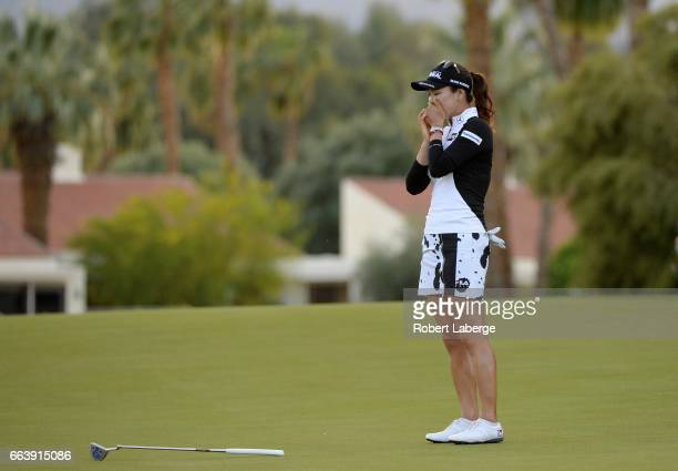 So Yeon Ryu of South Korea celebrates after winning the ANA Inspiration on the Dinah Shore Tournament Course at Mission Hills Country Club on April 2...