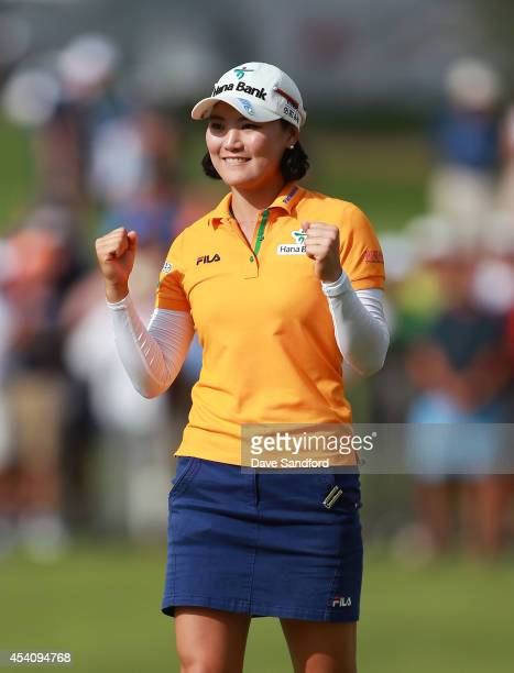 So Yeon Ryu of South Korea celebrates her two stroke victory during the fourth round of the LPGA Canadian Pacific Women's Open at the London Hunt and...