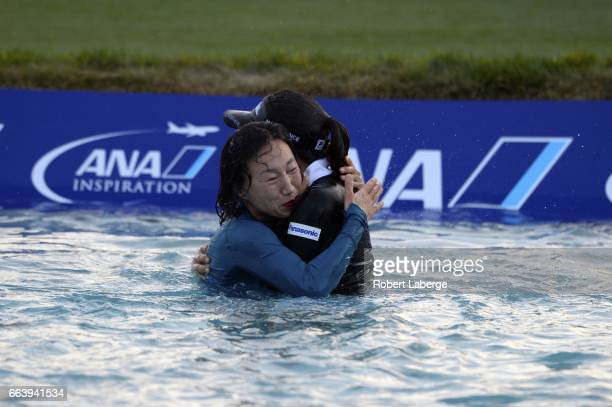 So Yeon Ryu of South Korea celebrates with her mother KwangJa Cho after winning the ANA Inspiration on the Dinah Shore Tournament Course at Mission...