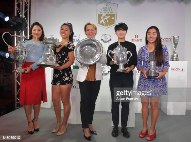 So Yeon Ryu of South Korea Danielle Kang of USA Annika Sorenstam Sung Hyun Park of South Korea and InKyung Kim of South Korea pose for a picture at...