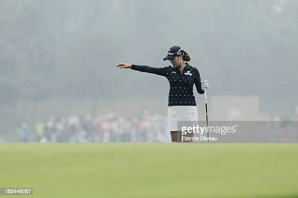 So Yeon Ryu of South Korea drpos a ball during the final round of the Reignwood LPGA Classic at Pine Valley Golf Club on October 6 2013 in Beijing...