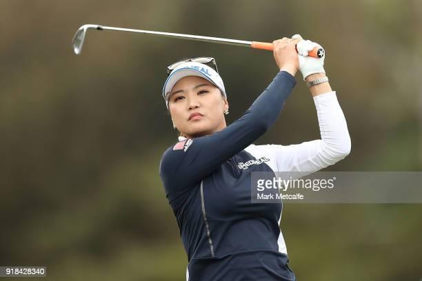 So Yeon Ryu of South Korea hits an approach shot during day one of the ISPS Handa Australian Women's Open at Kooyonga Golf Club on February 15 2018...