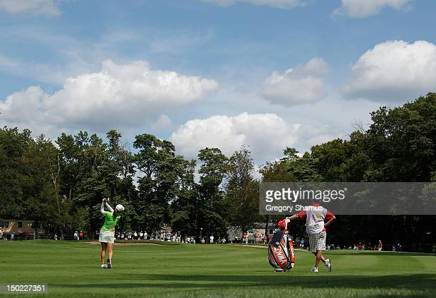 So Yeon Ryu of South Korea hits from the 13th fairway during the final round of the the Jamie Farr Toledo Classic presented by Kroger, Owens Corning...