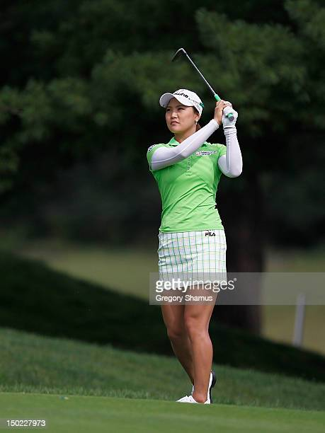 So Yeon Ryu of South Korea hits from the 18th fairway during the final round of the the Jamie Farr Toledo Classic presented by Kroger, Owens Corning...
