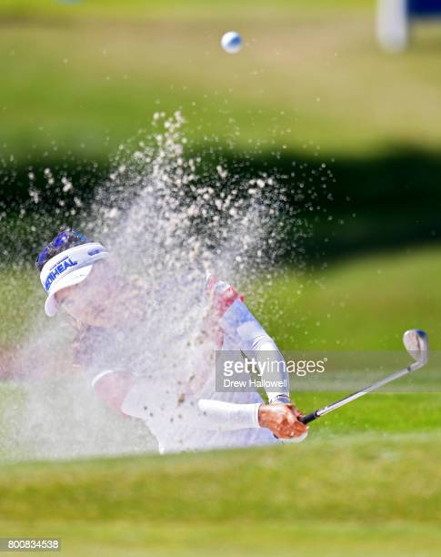 So Yeon Ryu of South Korea hits from the sand on the 13th hole during the Walmart NW Arkansas Championship Presented by P&G on June 25, 2017 in...