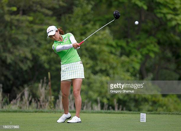 So Yeon Ryu of South Korea hits her drive on the ninth hole during the final round of the the Jamie Farr Toledo Classic presented by Kroger, Owens...