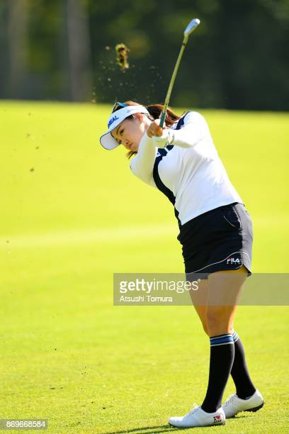 So Yeon Ryu of South Korea hits her second shot on the 6th hole during the first round of the TOTO Japan Classics 2017 at the Taiheiyo Club Minori...