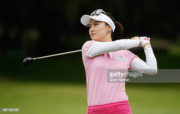 So Yeon Ryu of South Korea hits her second shot on the fourth hole during the third round of the Lorena Ochoa Invitational Presented By Banamex at...