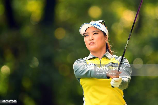 So Yeon Ryu of South Korea hits her tee shot on the 2nd hole during the second round of the TOTO Japan Classics 2017 at the Taiheiyo Club Minori...
