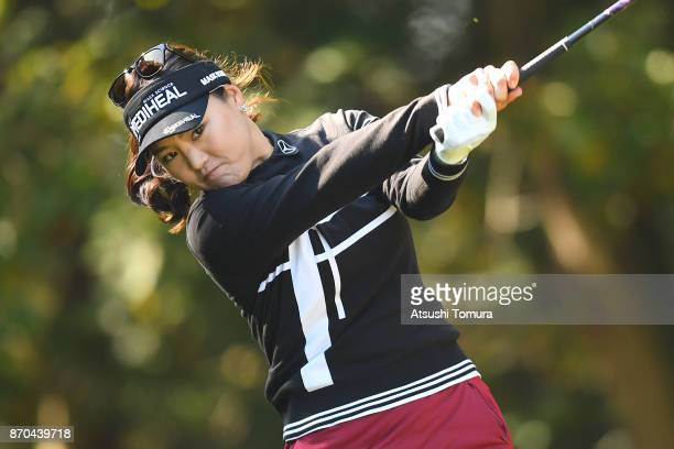 So Yeon Ryu of South Korea hits her tee shot on the 2nd hole during the final round of the TOTO Japan Classics 2017 at the Taiheiyo Club Minori...