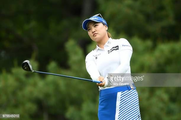 So Yeon Ryu of South Korea hits her tee shot on the third hole during the second round of the Meijer LPGA Classic for Simply Give at Blythefield...