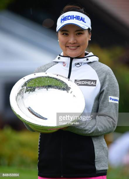 So Yeon Ryu of South Korea holds the Rolex Annika Award after the final round of The Evian Championship at Evian Resort Golf Club on September 17...