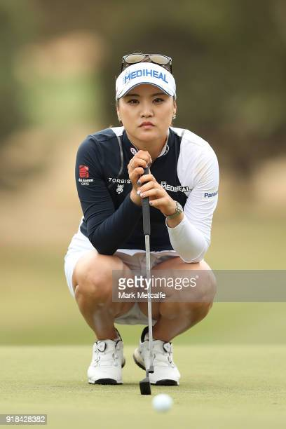 So Yeon Ryu of South Korea lines up a putt during day one of the ISPS Handa Australian Women's Open at Kooyonga Golf Club on February 15, 2018 in...