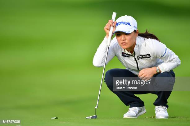 So Yeon Ryu of South Korea lines up a putt during the first round of The Evian Championship at Evian Resort Golf Club on September 14 2017 in...