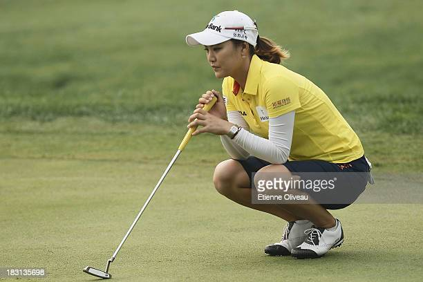 So Yeon Ryu of South Korea lines up a putt during the third round of the Reignwood LPGA Classic at Pine Valley Golf Club on October 5 2013 in Beijing...