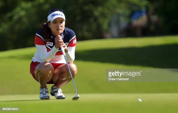 So Yeon Ryu of South Korea lines up a putt on the 14th hole during the Walmart NW Arkansas Championship Presented by PG on June 25 2017 in Rogers...