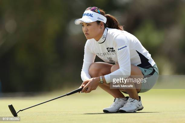 So Yeon Ryu of South Korea lines up a putt on the 18th hole during day three of the ISPS Handa Australian Women's Open at Kooyonga Golf Club on...