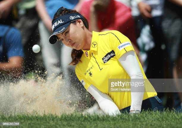 So Yeon Ryu of South Korea plays a bunker shot on the 15th hole during the final round of the KPMG Women's PGA Championship at Kemper Lakes Golf Club...