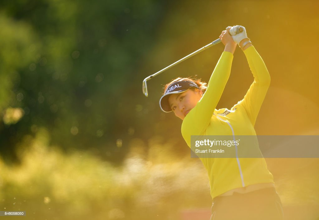 So Yeon Ryu of South Korea plays a shot during practice prior to the start of The Evian Championship at Evian Resort Golf Club on September 12, 2017 in Evian-les-Bains, France.