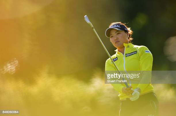So Yeon Ryu of South Korea plays a shot during practice prior to the start of The Evian Championship at Evian Resort Golf Club on September 12 2017...