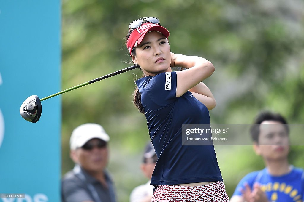 So Yeon Ryu of South Korea plays a shot during the final round of 2015 Fubon LPGA Taiwan Championship on October 25, 2015 in Miramar Resort & Country Club Taipei, Taiwan.
