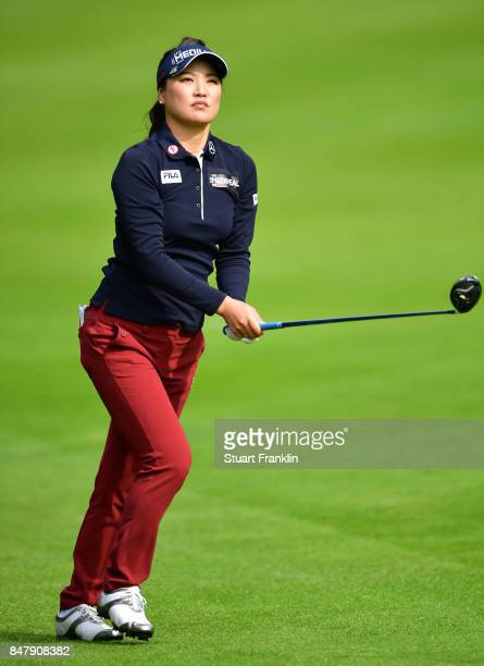 So Yeon Ryu of South Korea plays a shot during the second round of The Evian Championship 2017 at Evian Resort Golf Club on September 16 2017 in...