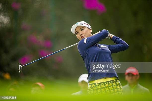 So Yeon Ryu of South Korea plays a tee shot at the sixth hole during the first round of the 2014 Lorena Ochoa Invitational presented by Banamex at...