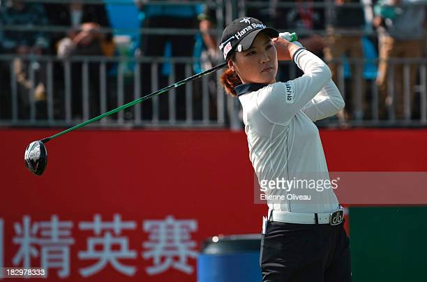 So Yeon Ryu of South Korea plays a tee shot during the first round of the Reignwood LPGA Classic at Pine Valley Golf Club on October 3 2013 in...