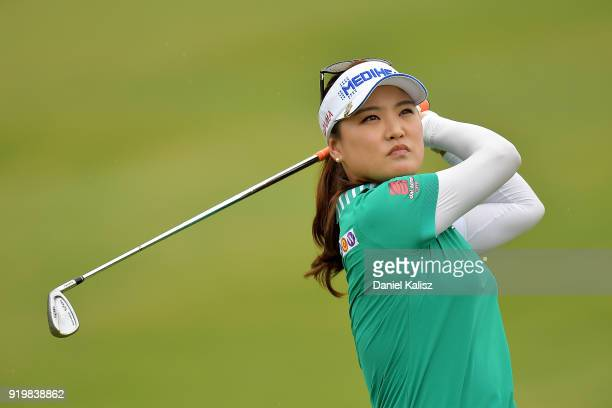 So Yeon Ryu of South Korea plays her second shot during day four of the ISPS Handa Australian Women's Open at Kooyonga Golf Club on February 18 2018...