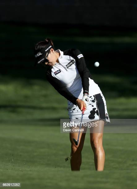 So Yeon Ryu of South Korea plays her second shot on the 15th hole during the final round of the 2017 ANA Inspiration held on the Dinah Shore...