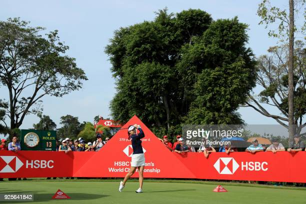 So Yeon Ryu of South Korea plays her shot from the first tee during round one of the HSBC Women's World Championship at Sentosa Golf Club on March 1...