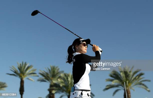 So Yeon Ryu of South Korea plays her tee shot on the 16th hole during the final round of the 2017 ANA Inspiration held on the Dinah Shore Tournament...