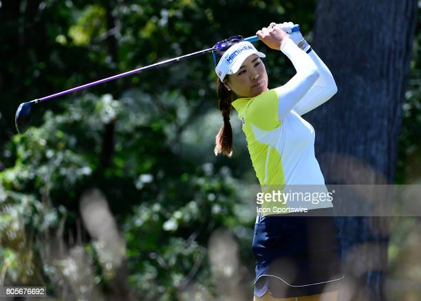 So Yeon Ryu of South Korea plays the ball from the fifth tee during the third round of the 2017 KMPG PGA Championship at Olympia Fields on July 1...