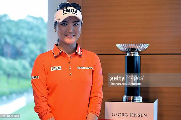 So Yeon Ryu of South Korea poses with trophy during day three of 2015 Fubon LPGA Taiwan Championship on October 24, 2015 in Miramar Resort & Country...