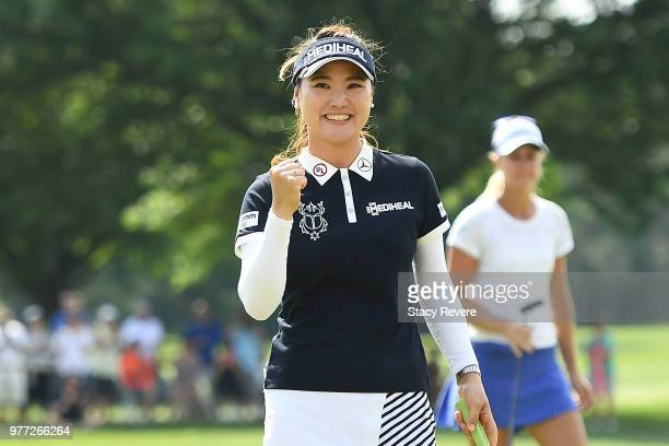 So Yeon Ryu of South Korea reacts after winning the Meijer LPGA Classic for Simply Give at Blythefield Country Club on June 17, 2018 in Grand Rapids,...