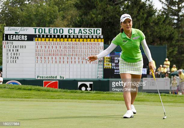 So Yeon Ryu of South Korea reacts on the 18th green after posting a leading score of -20 during the final round of the the Jamie Farr Toledo Classic...