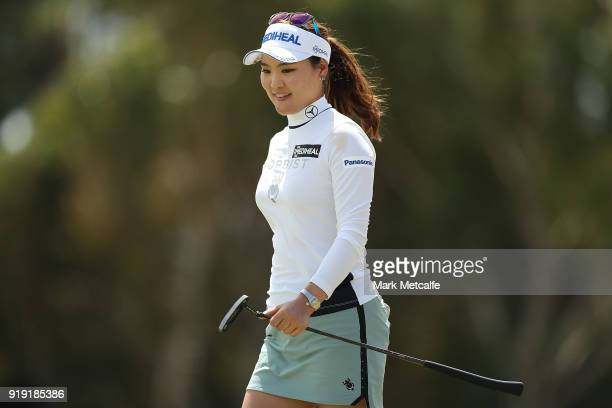 So Yeon Ryu of South Korea smiles on the 18th hole during day three of the ISPS Handa Australian Women's Open at Kooyonga Golf Club on February 17...