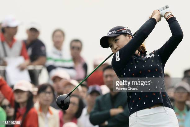 So Yeon Ryu of South Korea tees of her 1st tee during the final round of the Reignwood LPGA Classic at Pine Valley Golf Club on October 6 2013 in...