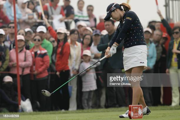So Yeon Ryu of South Korea tees off her 1st tee during the final round of the Reignwood LPGA Classic at Pine Valley Golf Club on October 6 2013 in...