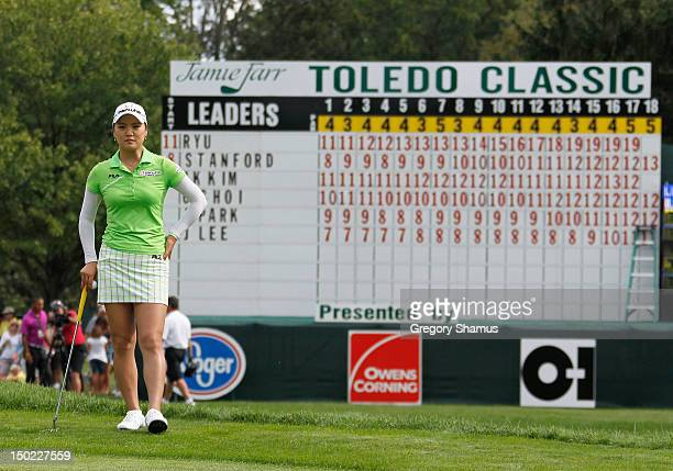 So Yeon Ryu of South Korea waits to putt on the 18th green during the final round of the the Jamie Farr Toledo Classic presented by Kroger, Owens...