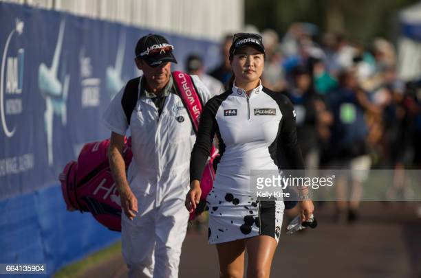 So Yeon Ryu of South Korea walk to the 18th hole during the final round of the 2017 ANA Inspiration at Mission Hills Country Club on April 2 2017 in...