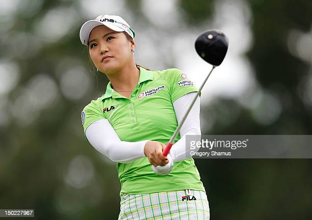 So Yeon Ryu of South Korea watches her tee shot on the 15th hole during the final round of the the Jamie Farr Toledo Classic presented by Kroger,...