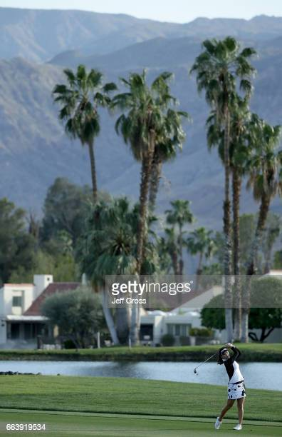 So Yeon Ryu of the Republic of Korea plays her second shot from the 18th fairway during the final round of the ANA Inspiration at the Dinah Shore...
