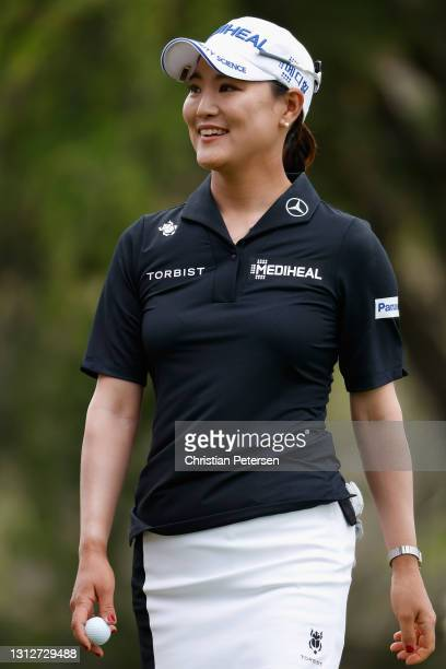So Yeon Ryu of the Republic of Korea reacts to her putt on the third green during the second round of the LPGA LOTTE Championship at Kapolei Golf...