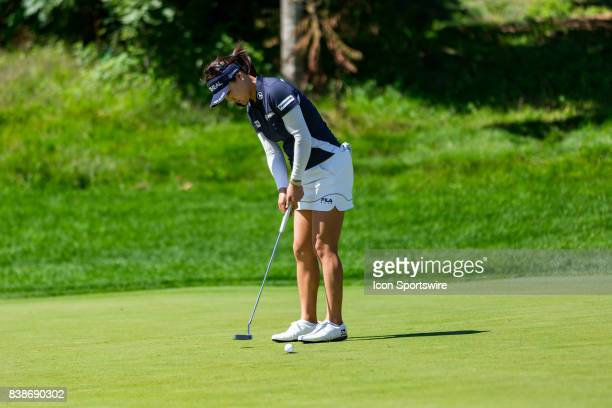 So Yeon Ryu putts on the green of the 14th hole during the first round of the Canadian Pacific Women's Open on August 24, 2017 at The Ottawa Hunt and...