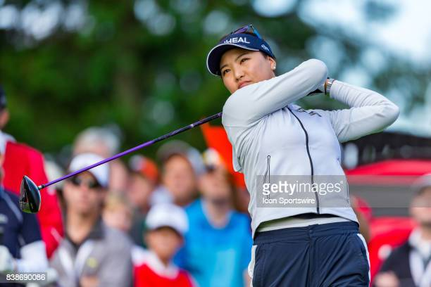 So Yeon Ryu tees off on the first hole during the first round of the Canadian Pacific Women's Open on August 24, 2017 at The Ottawa Hunt and Golf...