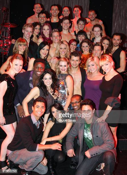 So You Think You Can Dance finalists pose with the cast and visit winners Anya Garnis and Pasha Kovalev who star in Burn The Floor on Broadway at the...