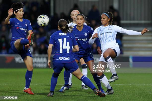 So Yun Ji of Chelsea Women and Taylor Hinds of Everton Ladies challenge for the ball during the FA Women's Super League match between Chelsea Women...