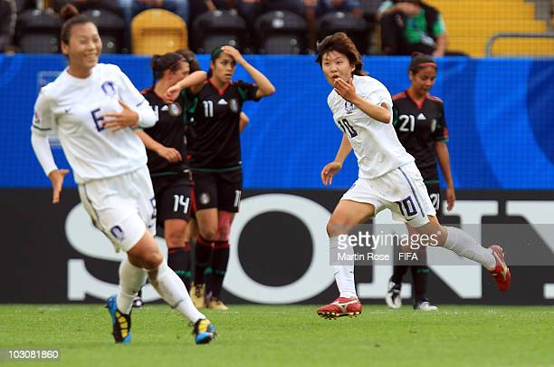 So Yun Ji of South Korea celebrates after scoring the opening goal during the 2010 FIFA Women's World Cup Quarter Final match between Mexico and...