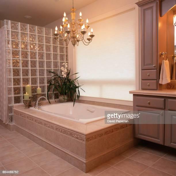 Soaking Tub in Luxurious Bathroom